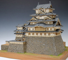 "1/150 Scale ""Himeji Castle"" Wooden Japanese Castle Model, by Woody JOE"